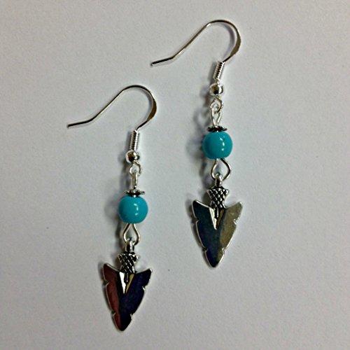 Arrowhead Turquoise Stone Earrings, on sterling silver ()