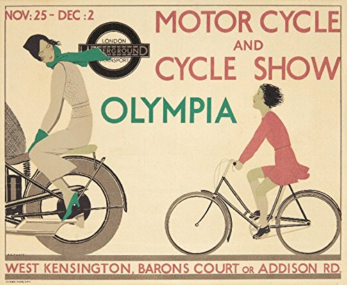 London Underground - Motor Cycle and Cycle Show Vintage Poster (artist: Marty) UK c. 1933 (36x54 Giclee Gallery Print, Wall Decor Travel Poster) (Vintage Motorcycle Museum)