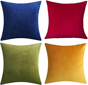 """Andreannie Set of 4 Mixed Color Velvet Super Soft Comfortable Cozy Solid Decorative Throw Pillow Cover Cushion Case for Sofa Living Room 18 inches,20 inches Square ? (Mixed 4 pcs, 20""""x20"""") ¡"""