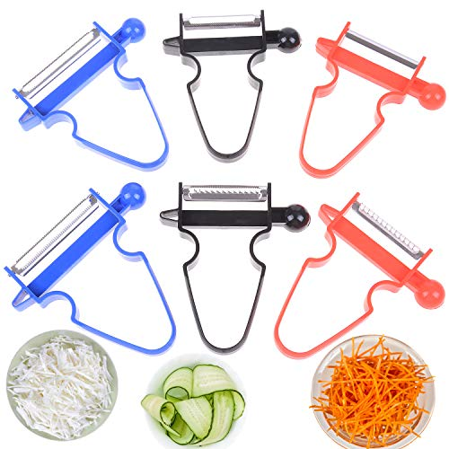 LOCOLO 6PCS Magic Trio Peelers, Multifunctional Peeling Slicer Tool Fruit Vegetable Slicer Cutter Great for Any Kitchen or Bar