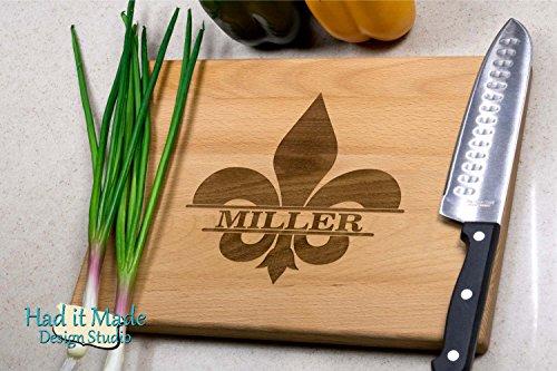 Fleur-de-lis Cutting Board - Personalized Monogram Cutting Board, Engraved Cutting Board, Custom Cutting Board, Wood Cutting Board Fleur De Lis Blocks