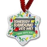Personalized Name Christmas Ornament, Somebody in Bandung Loves me, Indonesia NEONBLOND