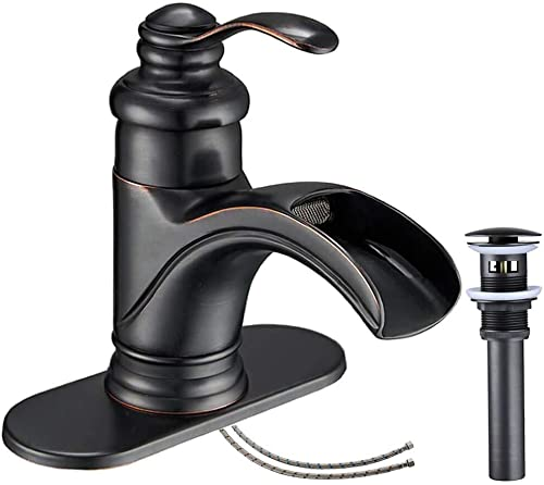 Bathlavish Bathroom Faucet Waterfall Oil Rubbed Bronze Antique Black Sink with Pop up Drain Stopper Vanity Single Hole Lavatory One Handle Mixer Tap Lowe-arc Supply Line Lead-Free