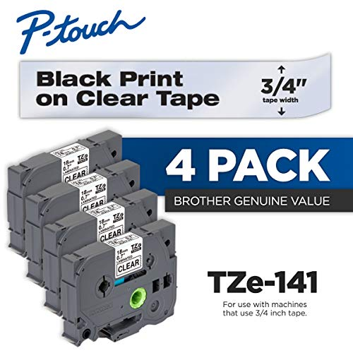 (Brother Genuine P-Touch 4-Pack TZe-141 Laminated Tape, Black Print on Clear Standard Adhesive Laminated Tape for P-Touch Label Makers, Each Roll is 0.7