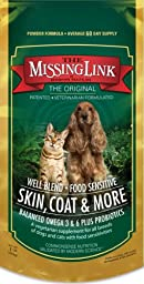 The Missing Link Well Blend Food Sensitive Skin, Coat & More Nutritional Supplement for Dogs and Cats - 1 lb