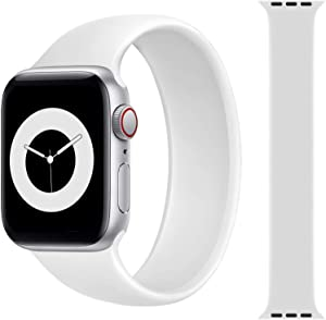 Solo Loop Strap Compatible with Apple Watch Band 38mm 40mm 42mm 44mm, Sport Elastics Silicone Apple Watch Bands Women Men, Replacement Wristband for iWatch Series 6 5 4 3 2 1 SE (White 38M)