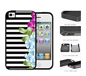 Black and White Horizontal Stripes with Pink and Blue Flower Design on Side 2-Piece High Impact Dual Layer Black Silicone Cell Phone Case iPhone 4 4s