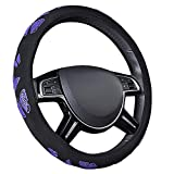 CAR PASS Pretty Butterfly Universal Steering Wheel Cover,Fit for Suvs,Vans,Trucks,Sedans,Cars(Black and Purple)