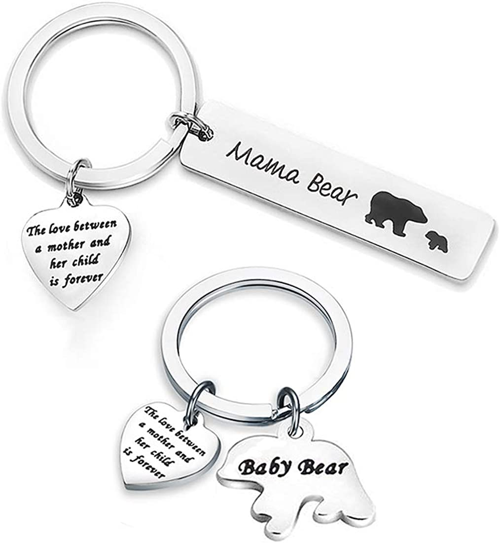 Zuo Bao Mama Bear and Baby Bear Keychain Set Mother Daughter Keychain Sweet Mom Jewelry