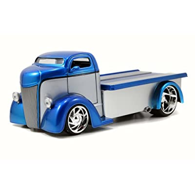 1947 Ford COE Flatbed, Blue and Silver - JADA 96959 - 1/24 Scale Diecast Model Toy Car