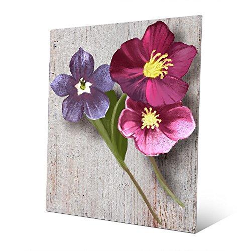 Flower Triplets: Painting of 3 Violets in Pink Mauve Violet