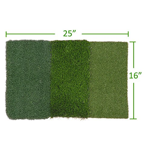 HOMGARDEN Golf Hitting Mat (25'' x 16'') Three Turf Types with Rubber Tee for Driving, Chipping and Putting Golf Practice and Training by HOMGARDEN (Image #4)