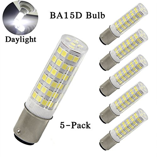 XYTGD BA15D LED Light Bulb 120V 6W, AC110V-130V ,T3/T4/C7/S6, Dimmable LED Light Bulb 50W Equivalent Daylight 6000k Indoor lighting bulbs Double Bayonet Sewing Machine (Pack of 5)