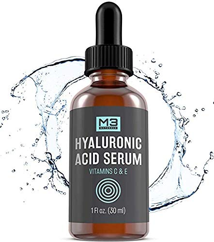 M3 Naturals Hyaluronic Acid Serum with Vitamin C for Face & Eyes Topical Facial Serum Natural Skin Care Anti Aging Anti Wrinkle Plumps Hydrates Fine Lines Vitamin E 1 FL OZ