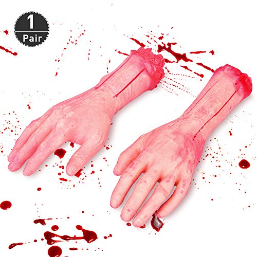 (Halloween Severed Hands - 1 Pair Fake Human Arms Bloody Hands, Life-Sized Left & Right Severed Hand Decoration, Trick Scary Fake Human Body Parts Halloween Costume Cosplay Party Decoration)
