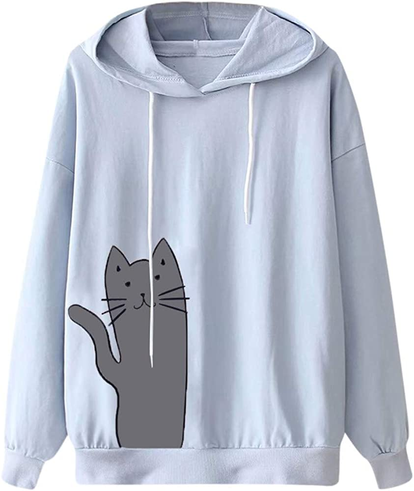 ✦HebeTop ✦ Womens Cat Print Sweatshirt Long Sleeve Loose Pullover Shirt