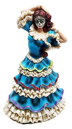 Ebros Dia De Los Muertos Day Of The Dead Traditional Blue Gown Dancer Statue Sugar Skull Vivas Calacas Figurine by Ebros Gift