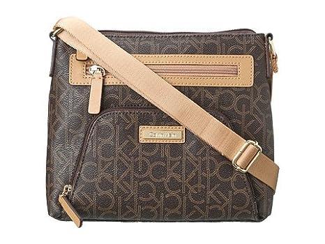 e1e04a187 Calvin Klein Monogram Crossbody, Brown/Khaki/Camel: Handbags: Amazon.com