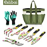 Eslibai 9 Pieces Garden Tools Set, Solid Aluminum Alloy Gardening Tool with Non-Slip Comfortable Handle Fairy Gardening Gifts with Soft Gloves & Beautiful Storage Tote and More