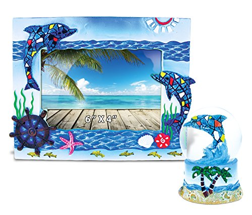 Mosaic Dolphin Snow Globe Gift Set