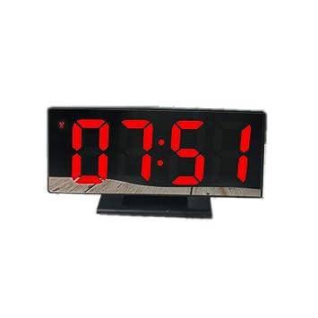 Konesky Despertador Digital Reloj de Espejo con luz LED multifunción Snooze Pantalla Luz LCD Mesa Sobremesa Reloj Acoplamiento Altavoz Cable USB para ...
