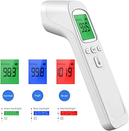 Non-Contact Infrared Thermometer with High Temperature Alarm for Baby Kids /& Adults Digital Forehead Thermometer with LCD Display and Memory Function Measurement Instant US Stock