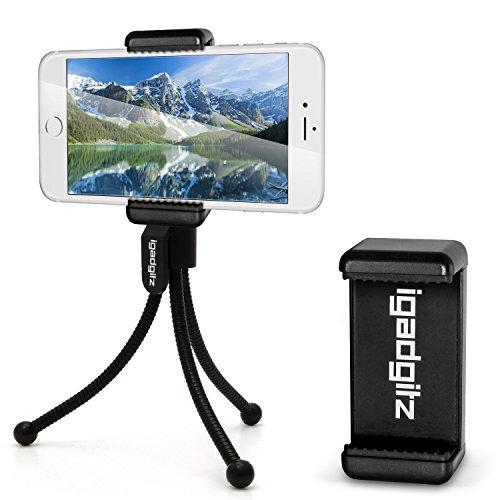 iGadgitz Black Flexible Mini Table Top Tripod with Pocket Clip + Premium Smartphone Holder Mount Bracket Adapter for Apple iPhone X, 8 7 6S 6 Plus 5.5