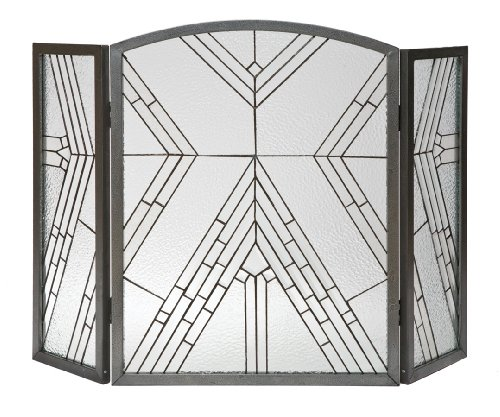 Glass Iron Fireplace - Panacea Products 15190 Wright Glass 3-Panel Fireplace Screen, Antique Iron