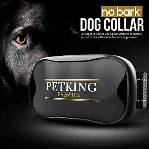- PETKING - Effective Anti Bark Dog Collar | Safe & Hummane No Barking Control Device to Stop Small Medium & Large Breeds | No Shock Spray or Aids | Best 2018 Anti-Barking Sound and Vibration Technology