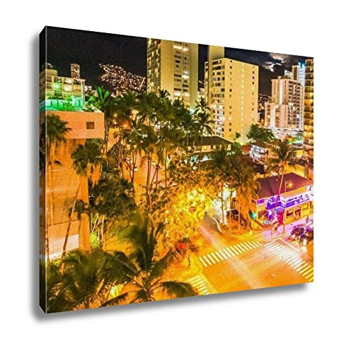 Ashley Canvas, Aerial View Night Traffic Of Waikiki City In Oahu Hawaii United States Moving, Home Decoration Office, Ready to Hang, 20x25, AG6406756 by Ashley Canvas