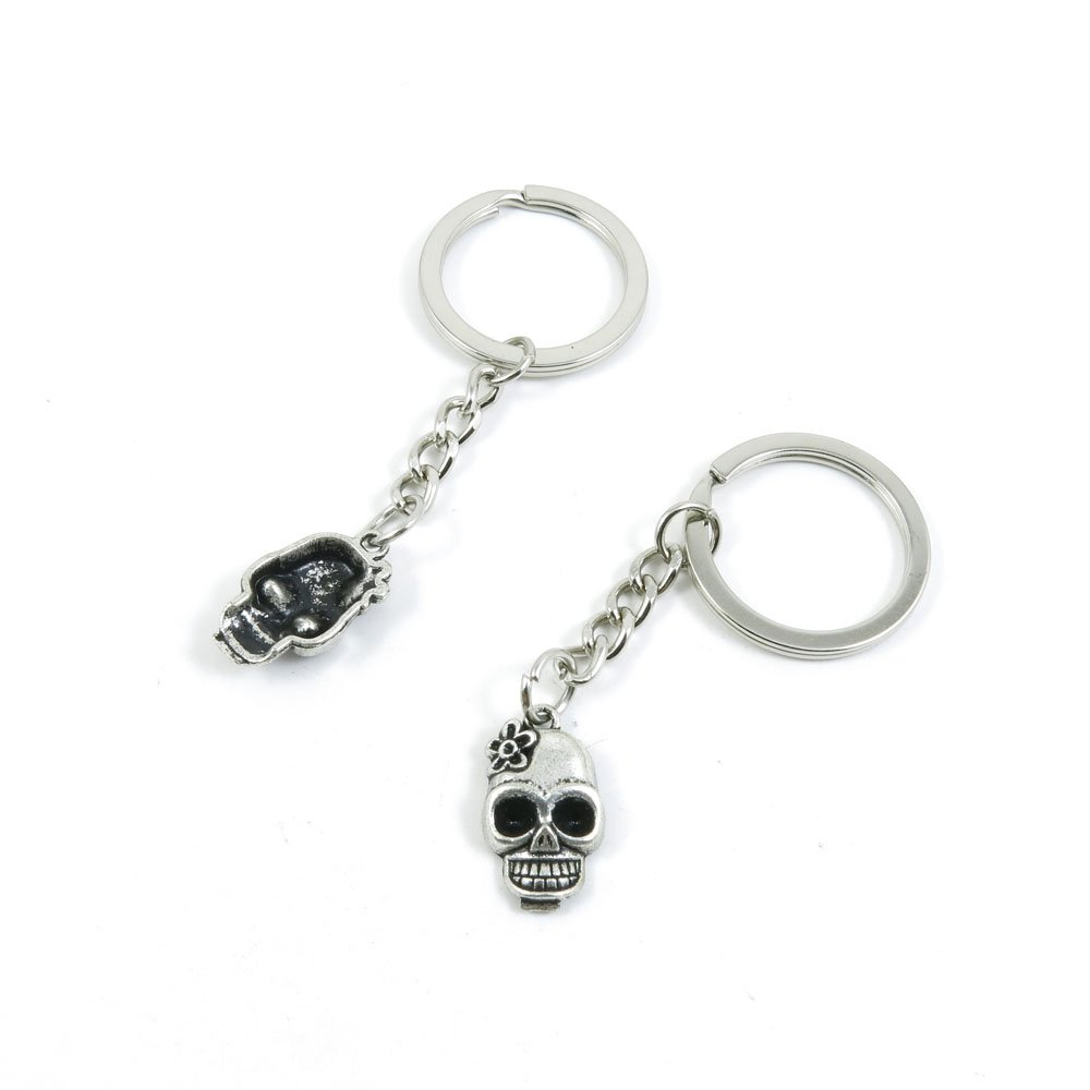 100 Pieces Keychain Door Car Key Chain Tags Keyring Ring Chain Keychain Supplies Antique Silver Tone Wholesale Bulk Lots G3EP3 Lady Skull Head