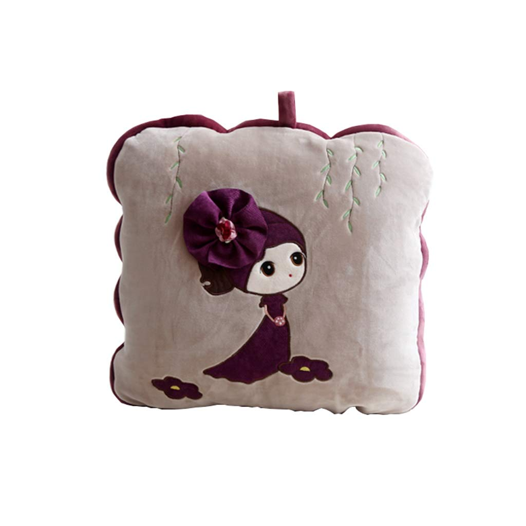 Pillow Quilt, Car Multi-Function Cartoon Pillow Quilt Dual-use Folding Office Home Summer Cool is Multifunctional Cute Pillow Nap Car Cushion Blanket (Color : Purple, Size : 40cm40cm) by NIUYAN