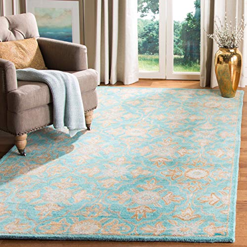 Safavieh Heritage Collection HG870A Handcrafted Traditional Turquoise and Multi Wool Area Rug (6' x 9')