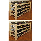 DisplayGifts Wine Rack Stackable Storage Stand, Solid Wood Display Shelves (80 Bottle Capacity) WN40-Q2