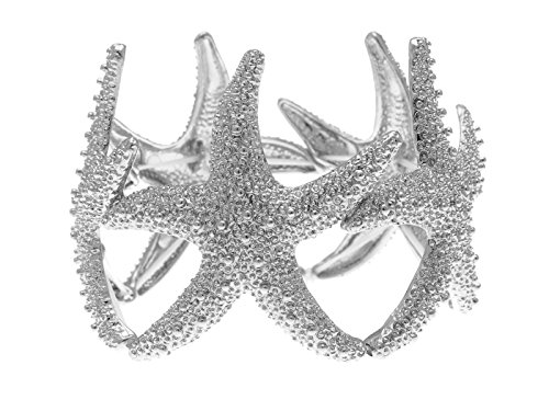 Alilang Gold or Silver Textured Starfish Stretch Bangle Cuff Statement Bracelet, - Women's Starfish