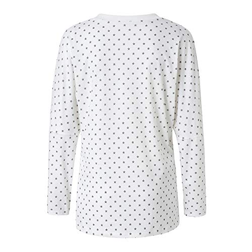 Blouse Shirt toiles Dcontract Tops Longues Imprim Femme Manches Mode Blanc Lache Automne T Bringbring HIRv5zxqw