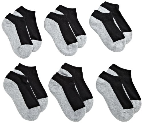 Jefferies Socks Little Boys' Seamless Sport Low Cut Half Cushion  Socks (Pack of 6), Black/Grey, 7-8.5 (Best Seamless Socks For Kids)