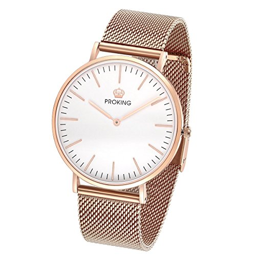 Womens Man Rose Gold Stainless Steel Watch Ultra Thin Fashion Dress Watch for Women Men Couples Wristwatch Waterproof Sapphire Crystal Extra Genuine Leather Band