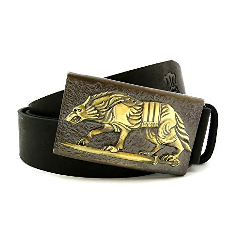 "Military Belt Buckle ""Werewolf"" on a Leather Belt"