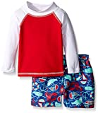 Flap Happy Baby UPF 50+ Rash Guard And Infant Swim Diaper Trunk Set, Riptide/Summer Seashore, 6 Months