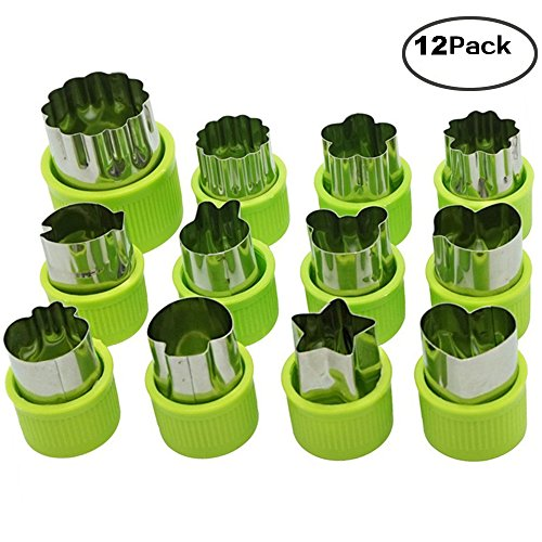 Vegetable Cutter Shapes Set of 12, Mini Cookie,Vegetable Cutters and Fruit Molds, Flower Star Cartoon Animals Fruit Mold Decorating Tools for kids baking and food supplement tools accessories crafts. - Chocolate Fruit Flowers