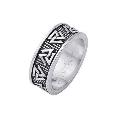 MENDINO Mens Stainless Steel Ring Band Viking Valknut Scandinavn Icelandic Odin Symbol Norse Silver Colour with 1X Velvet Pouch SqIJX2