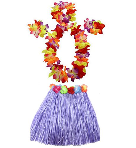1 Set 40cm kids Party Hawaii Dress Hula Grass Skirt by AniiKiss (Purple)