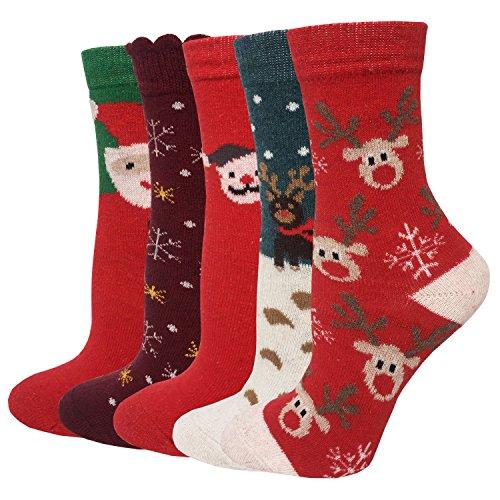 LOTUYACY Women's Winter Wool Crew Socks (Christmas)]()