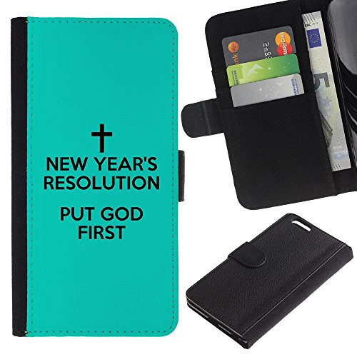 OMEGA Case / Apple Iphone 6 PLUS 5.5 / PUT GOD FIRST / Cuir PU Portefeuille Coverture Shell Armure Coque Coq Cas Etui Housse Case Cover Wallet Credit Card