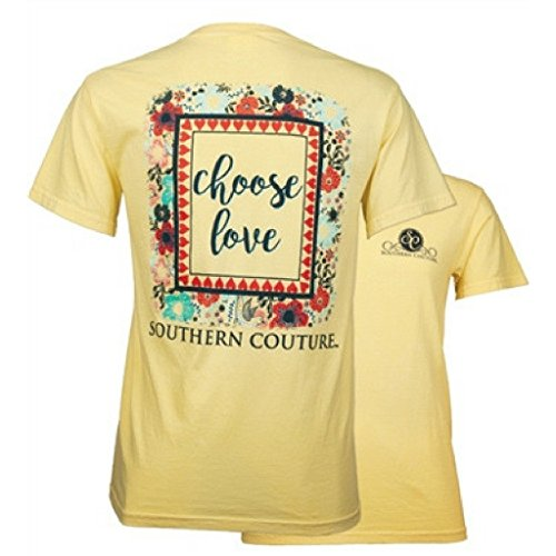 Southern Couture Comfort Color Short Sleeve Christian T-Shirt | Choose Love | Butter Yellow | Large