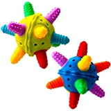 Babynow Star Ball Baby Teething Toys [2 PACK] Soothes and Stimulates Your Infant with Music Bell Rattle, Bright Colors and Soft Medical Grade, BPA Free Silicone Sensory Toys