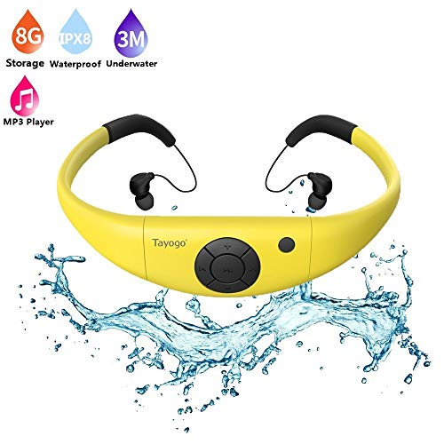 Tayogo 8GB Waterproof MP3 Player, IPX8 Swimming Waterproof Headphones Work for 6-8 Hours Underwater 3 Meters with Shuffle Feature