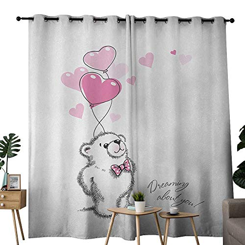 (Bear Thermal Insulated Drapes for Kitchen/Bedroom Sweet Little Teddy Bear Keeping Pink Heart Shaped Balloons Romantic Quote Set of Two Panels W72 x L108 Pale Pink Black White)