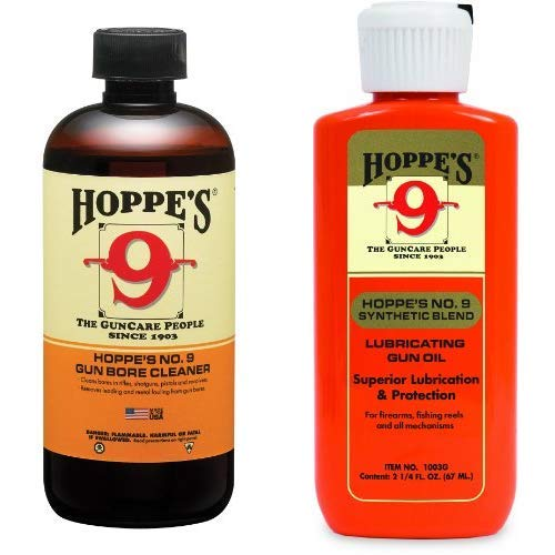 Hoppe's No. 9 Gun Bore Cleaner, 32 oz. Bottle AND Hoppe's No. 9 Synthetic Blend Lubricating Oil, 2.25-Ounce by Hoppe's